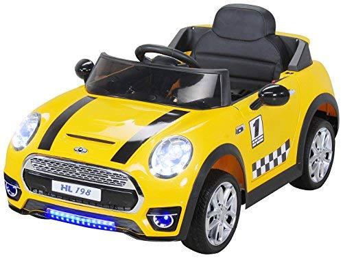 Actionbikes Motors Kinder Elektroauto Mini Cooper Eva Reifen Ledersitz Kinderfahrzeug Kinderauto in vielen Farben (Weiß)*