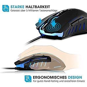 HoLife PC Gaming Maus, [Neue Version] Gamer Maus 7200DPI Computer Maus mit Kabel Hohe Präzision für Pro Gamer mit 7 programmierbaren Tasten/ LED/ ergonomisches Design/ USB-Wired Maus optisch (Schwarz)
