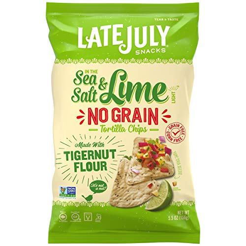 Late July Snacks No Grain Tortilla Chips Sea Salt and Lime Chips, 5.5 Ounce Bag