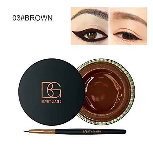 Beauty Glazed Eyeliner Gel Crème Avec La Brosse de Maquillage Cosmétique Waterproof Imperméable Eye Liner Brosse Kit Marron