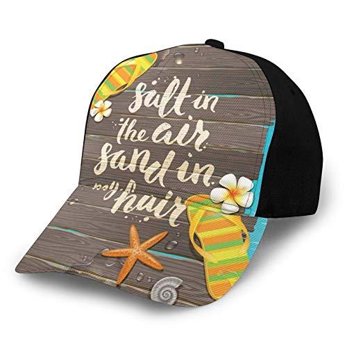 Gorra de béisbol para hombre y mujer, sal en el aire, arena en mi cabello, letra caligrafía, arte con chanclas, figura clásica ajustable