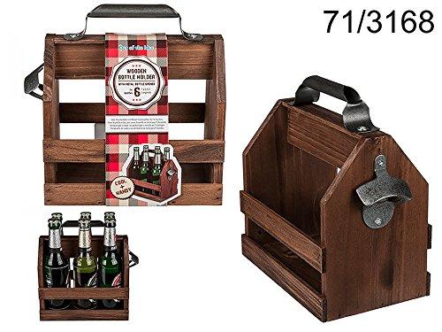 Out of the Blue 71/3168Soporte para botellas con abrebotellas de metal, madera, multicolor