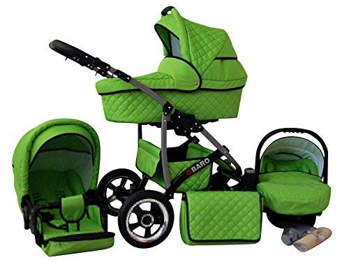 Lux4Kids Q Baro 3 in 1 Cochecito Combinado (asiento del coche incluye adaptadores, cubierta para la lluvia, mosquitero, ruedas giratorias 9 colores) 02 Racing verde