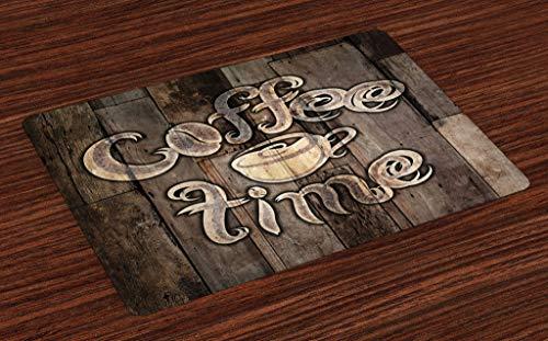 ABAKUHAUS Moderno Salvamantel Set de 4 Unidades, La Hora del café de Grunge Volver, Material Lavable Estampado Decoración de Mesa Cocina, Umber Crema de Cacao