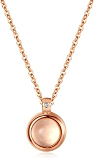 Necklace Jewelry Electroplated Rose Gold Round Synthetic Opal Necklace Pendant Necklace   Opal Necklaces For Women Pendant...