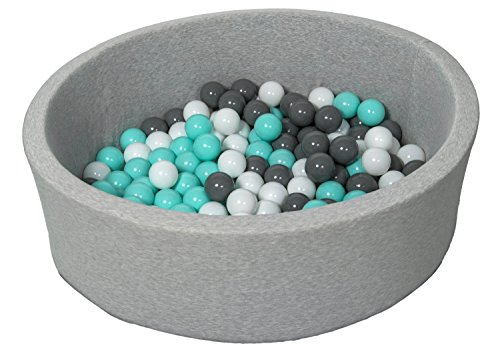 Velinda Bällebad Ballpool Kugelbad Bällchenbad Bällchenpool Kinder Pool mit 150 Bällen (Farbe der Bälle: weiß, grau, türkis)