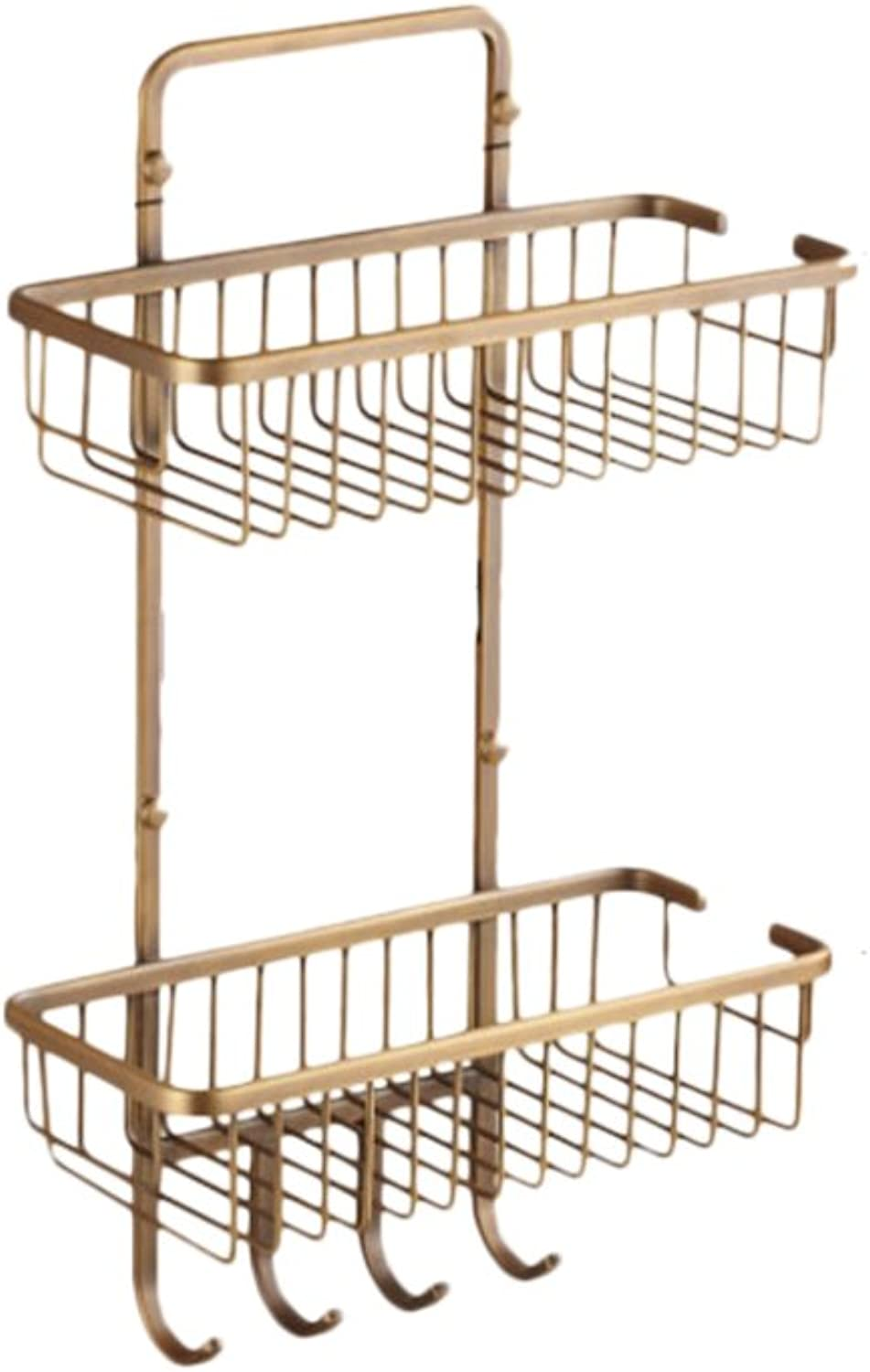 Bathroom Rack, Antique Copper Square Double Coat Hanger Basket Bathroom Hardware Accessories golden