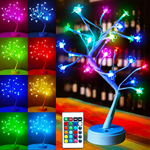 """Lighted Tree Cherry Blossom, 24 LED Tabletop Bonsai Flower Tree Lights Multicolor Pink Red Purple Green Color Changing for Christmas Wedding Halloween Party Girls Bedroom Decor-17.7""""(RGB)"""
