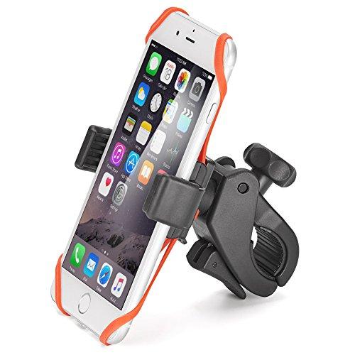Ikross supporto bici bicicletta supporto del telefono W/Impugnatura in gomma per Apple IOS iPhone, smartphone Android, GPS, MP3player rotazione di 360gradi di moto culla–nero/rosso
