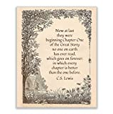 C.S. Lewis Quotes-'Now At Last They Were Beginning Chapter One'-Inspirational Wall Art. 8 x 10' Modern Typographic Print-Ready to Frame. Poetic Home-Office-School-Church Decor. Great Literary Gift!