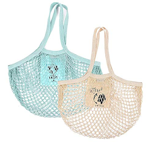 SIMPLY ECO 2 pack Zero Waste Reusable Cotton Grocery String Mesh Produce Bags.