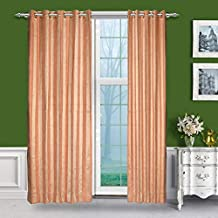 Just Linen Light Gold And Burly Wood Striped Eyelet Door Curtain