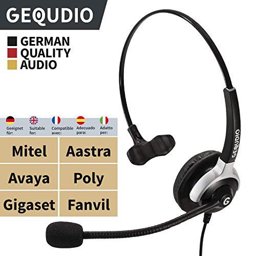 Business Headset geeignet für Mitel®, Aastra®, Avaya®, Polycom®und Fanvil® Telefone mit RJ-Anschluss | Anschlusskabel inklusive | 60g leicht