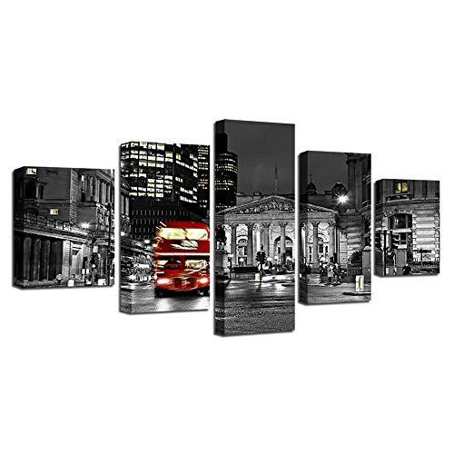 Rkmaster-decoratieve woonkamer zwart en wit druk 5 stuks rode bus gebouw nachtzicht canvas schilderij modulaire afbeelding poster muurkunst 30 cm * 40 cm * 2 30 cm * 60 cm * 2 30 cm * 80 cm * 1 geen lijst