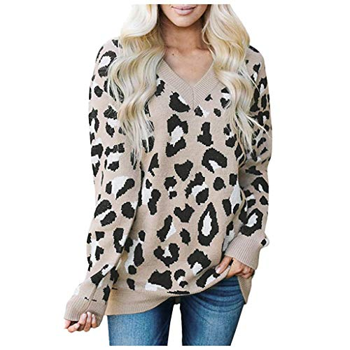 Gibobby Truien voor Vrouwen Luipaard, Vrouwen Oversized Lange Mouw Casual Camouflage Gebreide Jumper Pullover Sweatshirts Tops