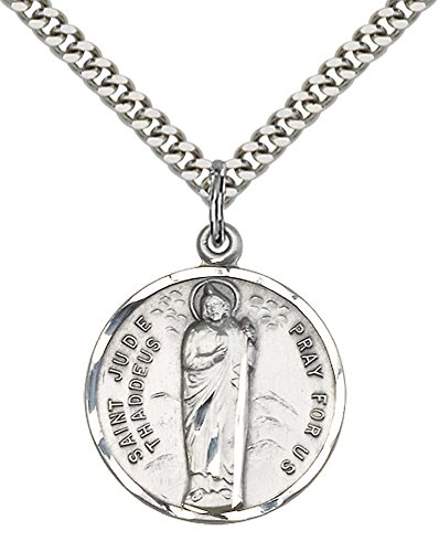 Sterling Silver St. Jude Pendant with 24' Stainless Silver Heavy Curb Chain. Patron Saint of Desperate Situations