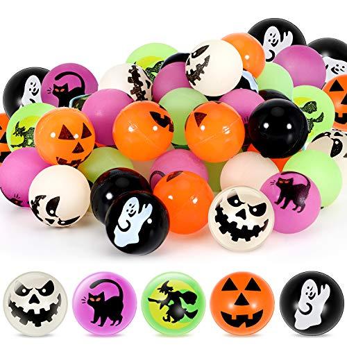 Sumind 40 Pezzi Palle Che Rimbalzano Palle Rimbalzanti Miste di Halloween con 5 Disegni a Tema Halloween per Premi per Gioco Classroom, Dolcetto o Scherzetto, 27 mm/ 1 Pollice