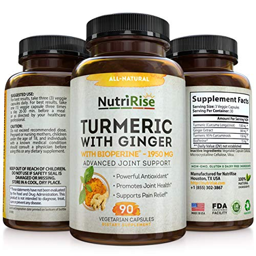 Turmeric Curcumin Supplement With Ginger & BioPerine Black Pepper Extract - Best Joint Pain Relief. Non-GMO, Vegan & Gluten-Free Turmeric Capsules