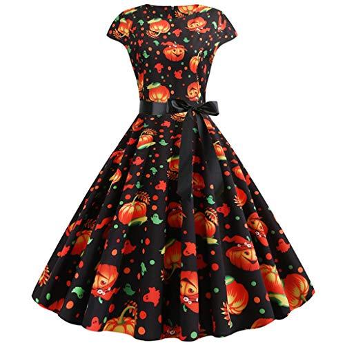 Reooly◕‿◕Vestido de Las Nuevas Mujeres de la Calabaza de impresión Vestido de Cuello Redondo del Partido de la Cremallera