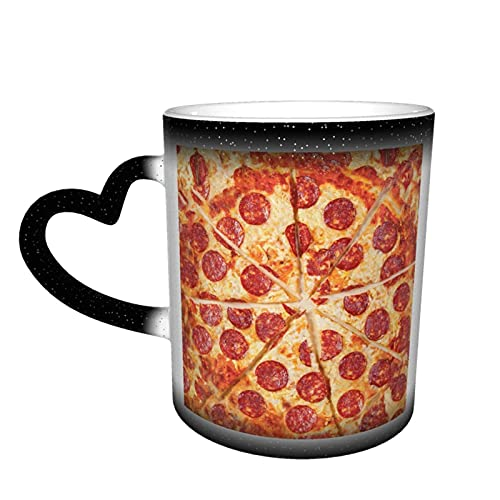MENYUAN Taza de café Pizza Funny Food Magic Heat Sensitive Color Cambio Taza In The Sky Tazas de café Regalos personalizados para los amantes de la familia Amigos