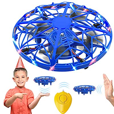 Hand Operated Mini Drone for Kids, LED UFO Drone Kids Toys Christmas Birthday Gifts Boys/Girls for Age 6 7 8 9 10, Indoor 360 Rotating, Infrared Sensor/USB Rechargeable, One Key Take Off/Landing