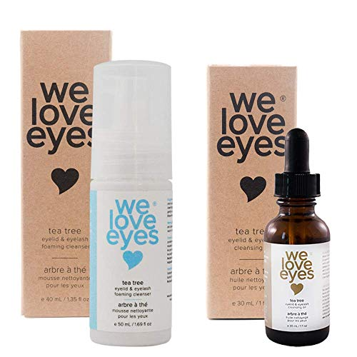 We Love Eyes - The Eyelid Scrub Kit - All Natural Tea Tree Eyelid Cleansing Kit (Cleansing Oil 30 ml & Foaming Cleanser 50 ml) wash away sources of inflammation Paraben & Sulfate Free - Made in USA