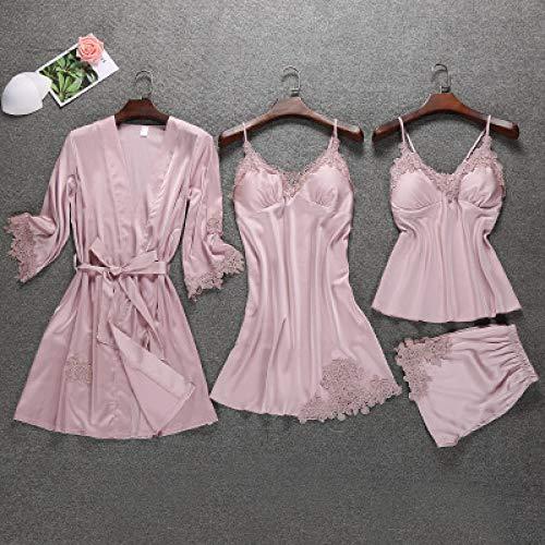 JFCDB Zomer pyjama,Satijnen Nachtkleding Dames met Borstkussens Sexy Dames Pyjama Slaap Lounge 4-delige Sets Elegante Dames Indoor Kleding, Roze, M