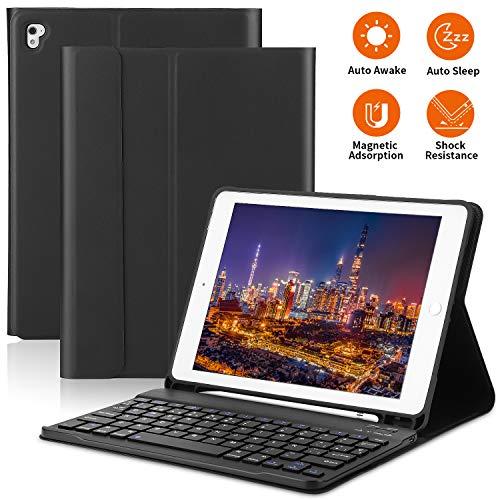 PEYOU iPad Keyboard Case 9.7 Inch Compatiable for iPad 2018 6th Gen iPad 2017 5th Gen-iPad Pro 9.7-iPad Air 2&1, Detachable Bluetooth Keyboard Case with Pencil Holder, Auto Wake/Sleep