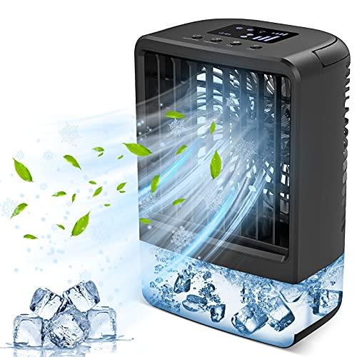 Enfriador de Aire - HAMIIS 4000mAh 4-EN-1 Mini Aire Acondicionado Portatil USB Enfriador Aire acondicionado Móvil, 3 Velocidades, 2/4h Temporizador, 7 Colores LED, para el Hogar y la Oficina