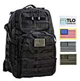 TLO TacPack24 - Tactical Backpack with MOLLE System, Hydration Pocket, 40L Storage (Black) Plus Bonus Pack of Four SWAPPABLE Velcro Patches and Three Flags