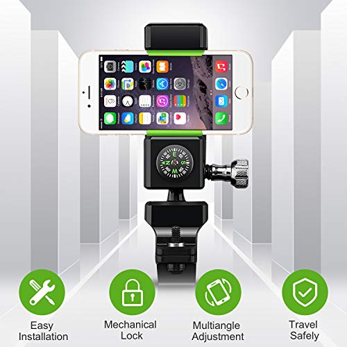 Premium Bike Phone Mount Holder, Golf Cell Accessories, Durable Smartphone Holder for Bicycle, Mobile Cellphone Holder/Universal Cradle for Bicycle Handlebars and 99% of Phones (LED Light)