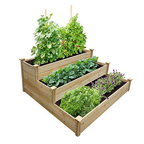 """Best Value 3-Tier Cedar Raised Garden Bed Planter 48"""" W x 48"""" L x 21"""" H"""