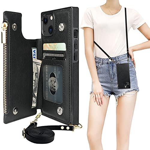 Bocasal Crossbody Wallet Case for iPhone 13 with RFID Blocking Card Slot Holder, Magnetic Flip Folio Purse Case, PU Leather Zipper Handbag with Detachable Lanyard Strap 6.1 Inch 5G (Black)
