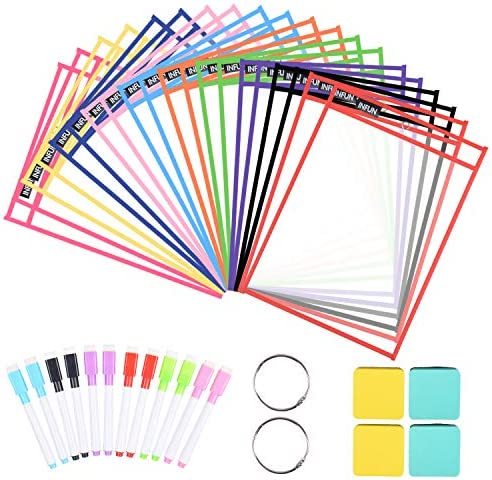 INFUN Dry Erase Pockets 20 Pack Oversized Reusable Dry Erase Sleeves Multicolored Dry Erase product image