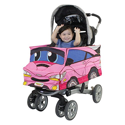 Pink Car Stroller Costume Turns Stroller Into a Baby, Toddler Ride On Car Toy