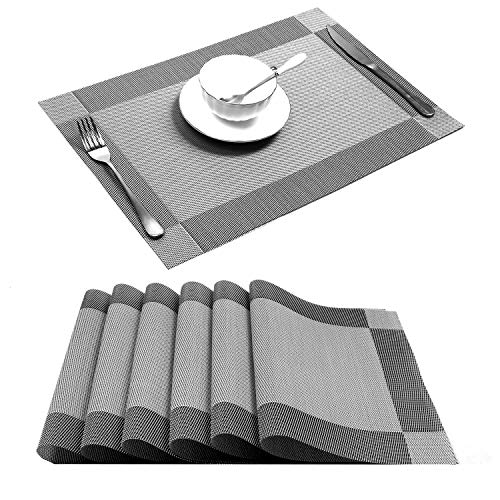 U'Artlines Placemat, Crossweave Woven Vinyl Non-Slip Insulation Placemat Washable Table Mats Set of 6 (6pcs placemats, Silver-Gray)
