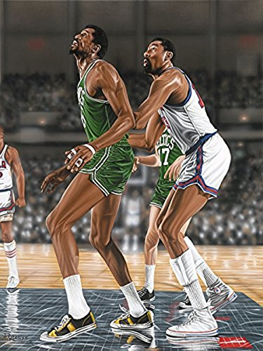 Buyartforless Canvas Wilt Chamberlin and Bill Russel by Darryl Vlasak 16x12 Painting Print on Wrapped Canvas Memorabilia Basketball Legends Celtics vs 76ers. Made in The USA!