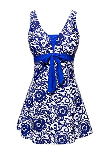 Angcoco Women's Swimwear Tummy Control Swimsuit Swimdress Tankini Plus Size