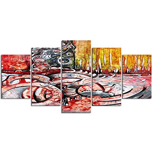 ZORMIEY Leinwand Malerei Wandkunst Modulare Bilder 5 Stücke Baum Bunte abstrakte Waldzeichnung Chartreuse Bäume Airbrush surreal Stücke Wikinger Film HD Druck Poster Home Dekorative