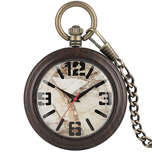 yuyan Reloj de Bolsillo de Madera, Vintage ébano mármol y Relojes de Bolsillo para Mujer, Regalo para el día de Aniversario de cumpleaños Día de los Padres (Color : B)