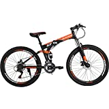 Folding Mountain Bike 21 Speed Full Suspension Bicycle 27.5 inch MTB (Orange)