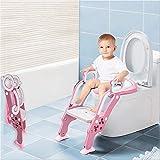 Asiento Aseo Escalera Asiento para WC del tocador de niños Plegable con Escalón Ajustable y Cojín,Adecuado para bebés y niños de 2 a 7 años (Rosado)