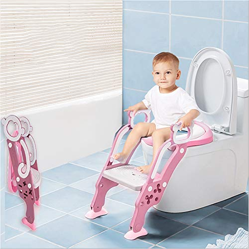 Toilettentensitz kinder, LADUO Kinder Toiletten-Trainingssitz mit rutschfester Trittleiter-Leiter,für 1-7Jahr Kleinkinder,und Jungen, Mädche (Rosa)