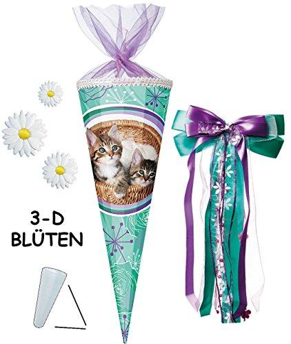 alles-meine.de GmbH mit 3-D Blumen Applikation ! - Schultüte -  Stubentiger / süße Katzen  - 70 cm - rund - incl. große Schleife - Organza Abschluß - Zuckertüte - mit / ohne Ku..