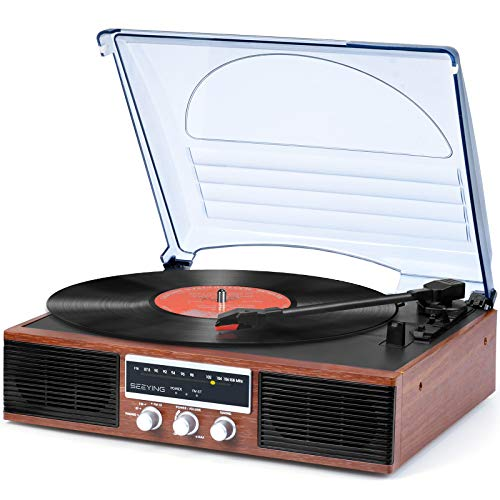 Vinyl Record Player Turntable Bluetooth with Speakers 3-Speed Belt-Driven LP Phonograph Player Portable Vintage Record Player