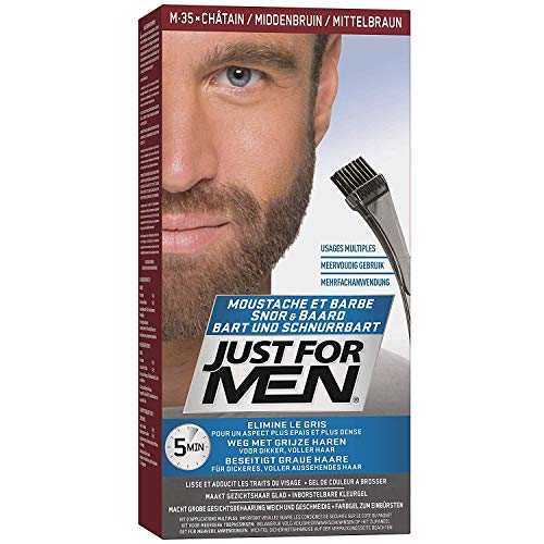 Scopri offerta per Just For Men Brush-In Color Gel Mustache & Beard Medium Brown M-35