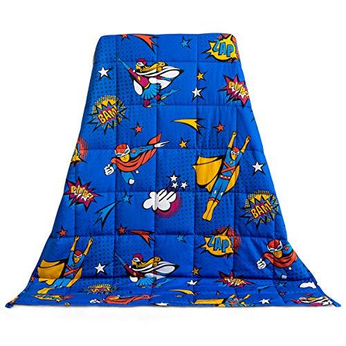 Sivio - Manta pesada para niños de 3 libras | 36 pulgadas x 48 pulgadas | manta con peso con cuentas de vidrio 100% algodón premium |...
