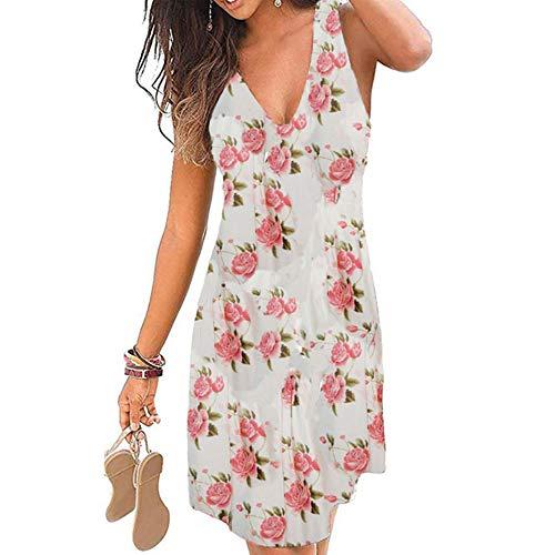 Vestido sin mangas para mujer, cuello en V, informal, espalda descubierta, estampado fino, vestido de fiesta, vestido de playa Rosa sobre blanco. M-36/38/40