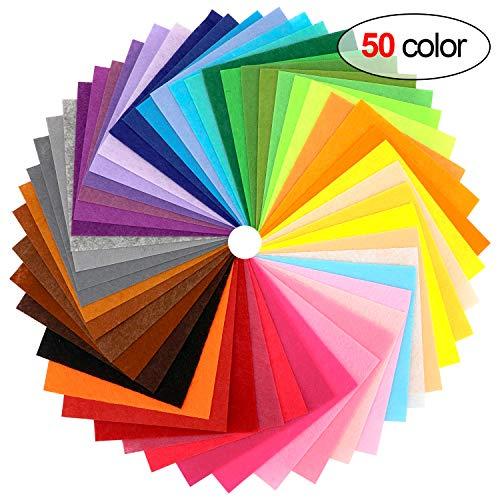 Howaf 50 Colores Fieltro Hojas para Manualidades, No Tejido Tela de Fieltro, Material Para Costura y Artesanías de Bricolaje Adornos, 6 x 6 Pulgadas(15x15cm), 1 mm de Grosor