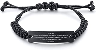 MEALGUET Stainless Steel Handmade Black Adjustable Cord Inspirational Courage Quote to My Son Bracelets to Boys,Birthday G...